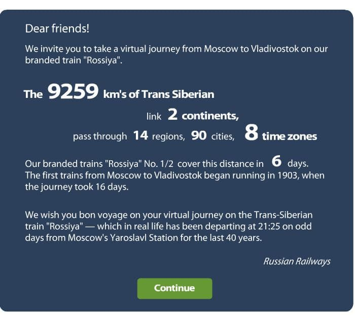 Virtuele transsiberie express