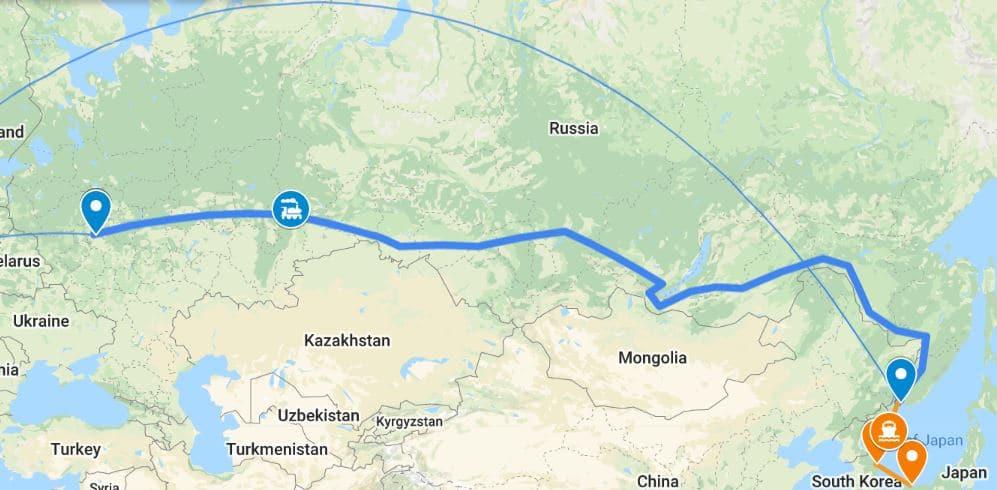 De échte Transsiberië Express - route