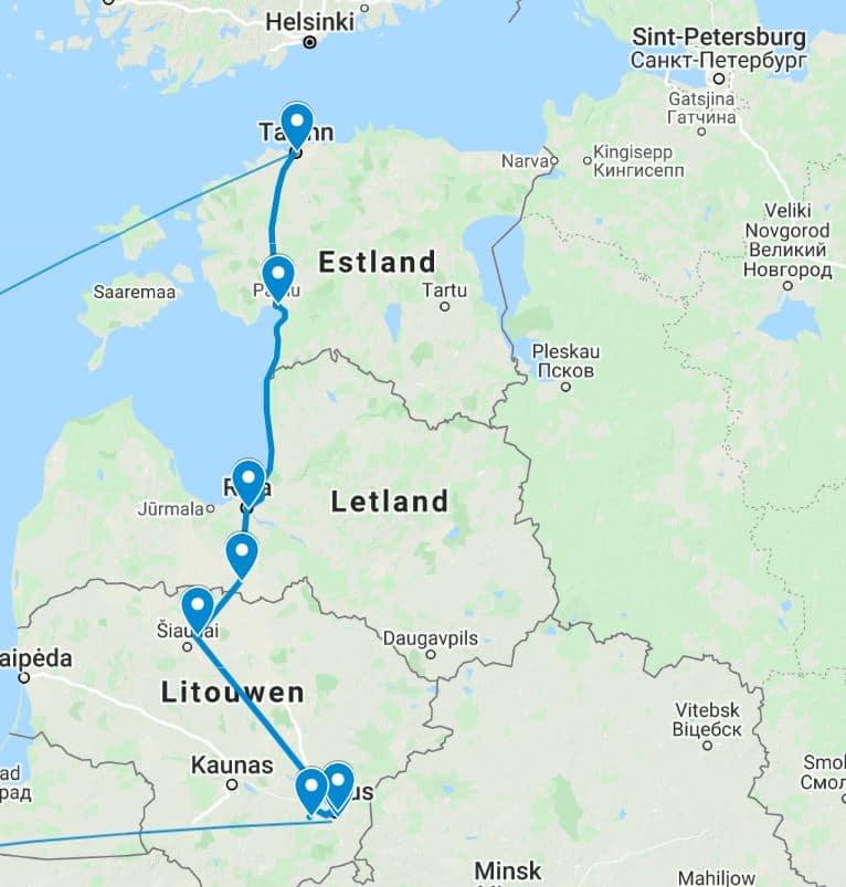 Route Groepsreis Baltische Staten
