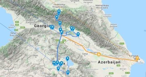 Groepsreis Georgie en Armenie - routekaart